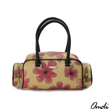 【Omdi】花朵印花手提包-橘色