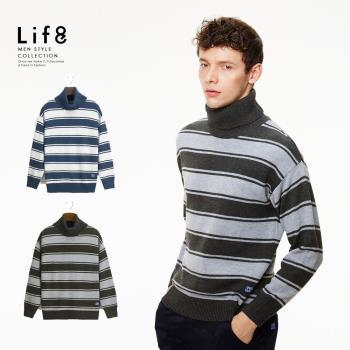 Life8-Casual 暖男御用 環保柔紗 雙色寬條高領毛衣 NO. 03996