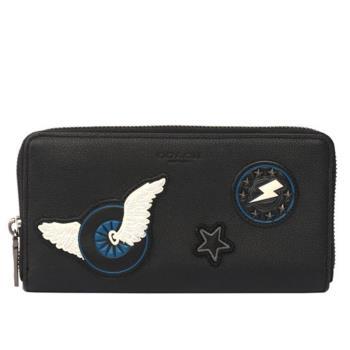 COACH 皮革補釘系列 翅膀/閃電ㄇ拉長夾(黑色)F86765 BLK