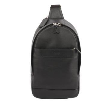 COACH 素面皮革斜背包/胸口包(黑色)F54770 BLK