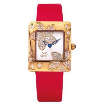 Ogival 瑞士愛其華 花漾馨語珠寶腕錶-玫瑰紅 380-36DLR