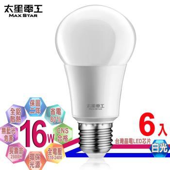 太星電工  LED燈泡 E27/16W/白光(6入)