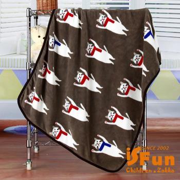 iSFun 圍巾貓咪 保暖珊瑚絨毛毯 咖100x75cm