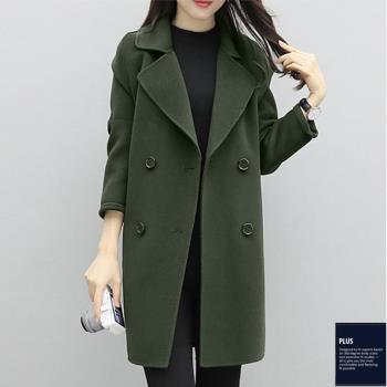 SCL氣質毛呢雙排扣七分袖大衣外套