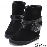 【Deluxe】全真皮頂級綿羊皮內增高雪靴(黑)-18-1