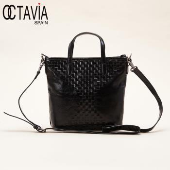 OCTAVIA 8真皮 -古典編織系列 馬賽克手提肩背小書包 - V編黑