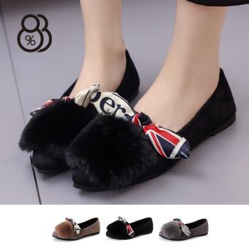 88%秋冬韓版時尚蝴蝶結美國絲帶毛毛鞋女尖頭包鞋娃娃鞋跟鞋