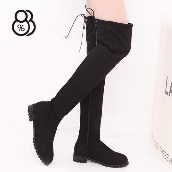 88% 時尚經典過膝綁帶低粗跟3CM長靴過膝靴