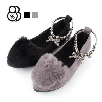 88%秋冬韓版毛毛鞋兔毛浅口休閒平底尖頭跟高蝴蝶结娃娃鞋