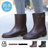 88%晴雨兩穿靴舒適柔韌修長美腿顯瘦環保PVC中筒低跟雨靴雨鞋
