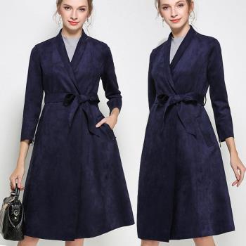 麗質達人中大碼 - PM6629藍色絨皮長版風衣外套 L-4XL