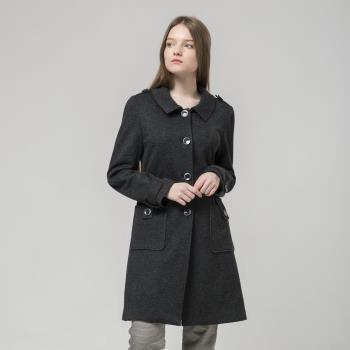 FIORE花蕾時尚雙色羊毛大衣