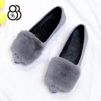 88%氣質暖冬絨毛絨面尖頭包鞋娃娃鞋毛毛鞋低粗跟