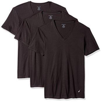 NAUTICA 男時尚黑色V領短袖內衣3件組(預購)