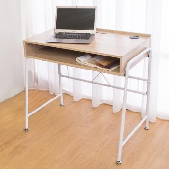 Bernice-凱爾線孔工作桌/書桌(白橡色)-DIY