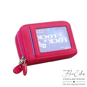 DF Flor Eden皮夾 - 經典雙拉鍊牛皮款多卡夾零錢包-共4色