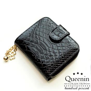 任-DF Queenin皮夾 - 奢華仿蛇皮款舌扣式零錢包短夾-共2色
