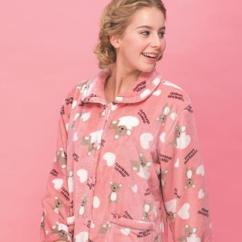 【皮爾卡登】愛心熊連身法蘭絨居家服(粉)