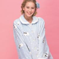 【皮爾卡登】可愛熊貓兩件式法蘭絨(藍)