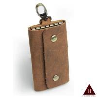 【H-CT】瘋馬皮可掛鈕扣式真皮鑰匙包(YU-HM01-Z)