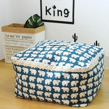 收納職人 衣物棉被大容量防水防塵袋收納袋收納箱50L 藍底小白熊