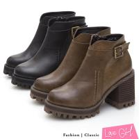 Love Girl 簡約車線V口釦飾厚底粗跟短靴