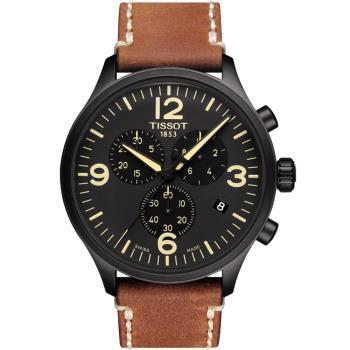 TISSOT 天梭 Chrono XL三眼計時運動錶(黑x咖啡/45mm) T1166173605700