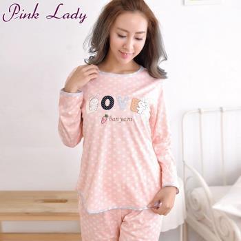 【PINK LADY】小兔子LOVE居家棉柔長袖成套睡衣-桔(1806)