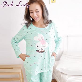 PinkLady笑咪咪兔居家棉柔長袖成套睡衣-綠(1103)