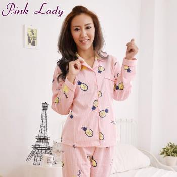 PinkLady甜滋滋波蘿居家襯衫型長袖成套睡衣-粉(838-2)