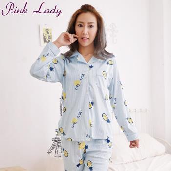 PinkLady甜滋滋波蘿居家襯衫型長袖成套睡衣-藍(838-2)