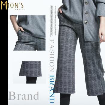 MONS不老經典灰白密格紋寬褲(CC7529)