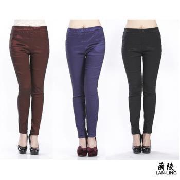 蘭陵日本創新素材緞面內刷絨長褲3入