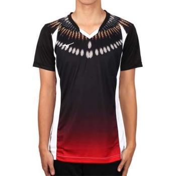 MIZUNO 男排球短袖上衣-2017企業排球聯賽-短T T恤 美津濃 黑紅