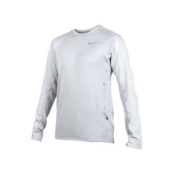 NIKE 男子針織刷毛長上衣-長T T恤 慢跑 路跑 保暖 灰銀