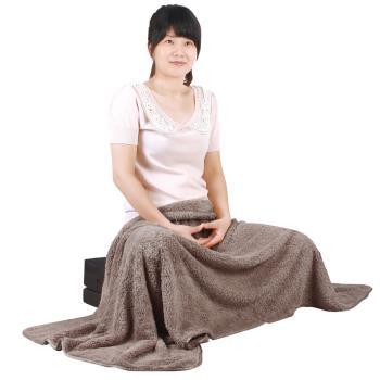 【源之氣】極超細纖維居家/靜坐毛毯 75*150cm/褐色 RM-10392