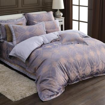 HOYACASA戀戀紫藤  雙人六件式天絲緹花兩用被床罩組