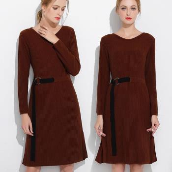 麗質達人中大碼 - SD7034咖啡色針織綁帶洋裝 XL-5XL