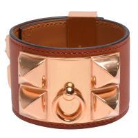 HERMES collier de chien金屬鉚釘Swift小牛皮寬版手環(S-古銅色X玫瑰金)