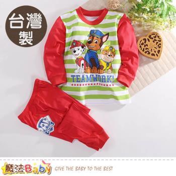 魔法Baby 兒童套裝 台灣製汪汪隊立大功正版薄款長袖純棉套裝~k60526