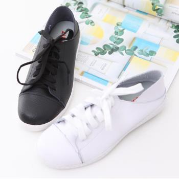 ZUCCA【z6229】軟面皮革繫綁帶休閒鞋-黑色/白色