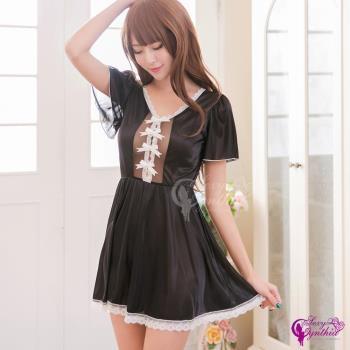 【Sexy Cynthia】俏麗宮廷風短袖黑色柔緞睡衣