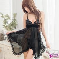 【Sexy Cynthia】性感睡衣 黑色誘惑深V柔紗二件式睡衣