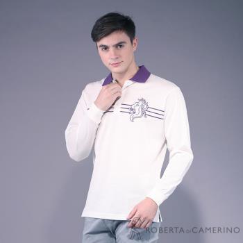 【ROBERTA諾貝達】台灣製 修身版 純PIMA棉柔軟長袖POLO棉衫 白紫