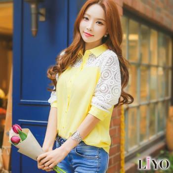 襯衫女裝蕾絲鏤空拼接袖OL韓風長袖襯衫LIYO理優E735017