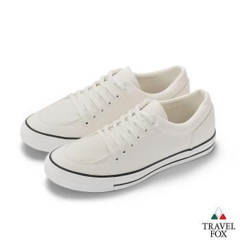 TRAVEL FOX(男) Classic 900 low 低筒帆布休閒鞋-白