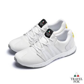 TRAVEL FOX(男)牛皮拼接運動鞋-白