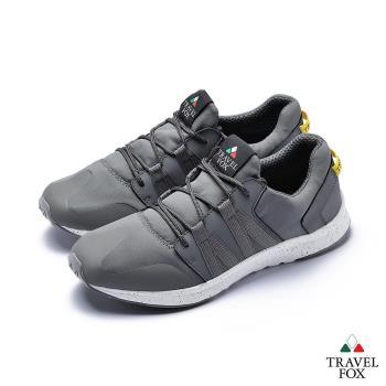 TRAVEL FOX(男)牛皮拼接運動鞋-灰