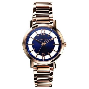 RELAX TIME RT56 輕熟風格系列鏤空女錶 藍x玫瑰金 36mm RT-56-12