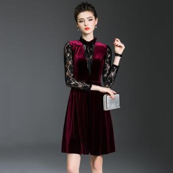 最水-媚誘絲絨拼接蕾絲洋裝